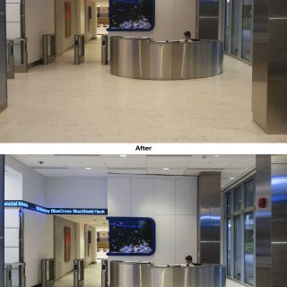 We removed the perspective distortion which made the stainless steel column appear to tilt. We also corrected the white balance to eliminate the amber cast thereby ensuring more accurate color representation.