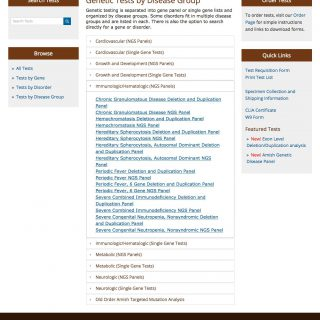 Browse tests desktop view - full page
