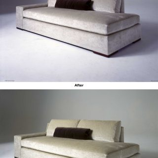 This image had a blue cast which negatively affected the appearance of the upholstery. We corrected the white balance to ensure accurate upholstery color. We also retouched the image to remove a footprint on the white seamless background.
